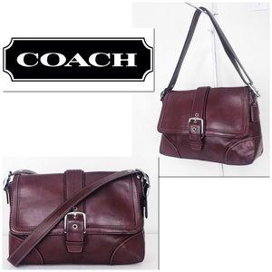 Coach Hamptons Distressed Bordeaux Leather Bag